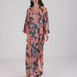 Платье халат длинное пудровое