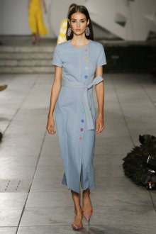 Платье халат голубое однотонное
