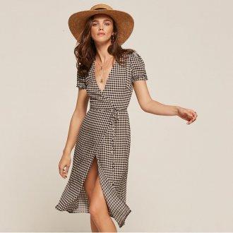 Платье халат клетчатое