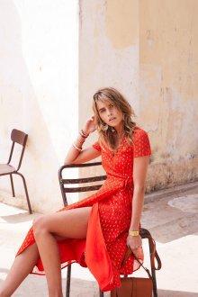 Платье халат красное с золотом
