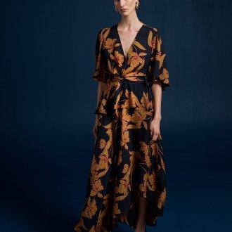 Платье халат с крупным принтом