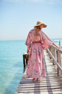 Платье халат розовое пляжное