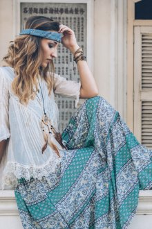 Платье из штапеля бирюзовое