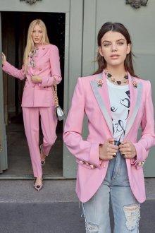 Летний жакет розовый с отделкой