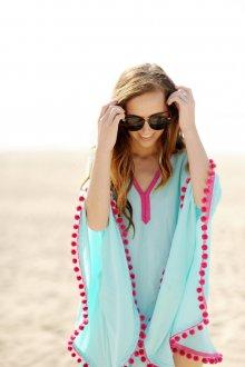 Пляжная туника голубая с кисточками