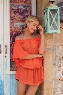 Пляжная туника оранжевая прозрачная