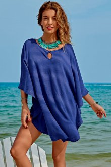 Пляжная туника синяя короткая