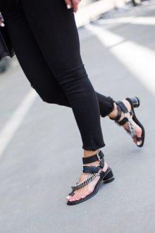 Сандалии женские с круглым каблуком