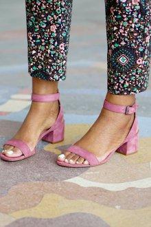 Сандалии женские розовые из замши