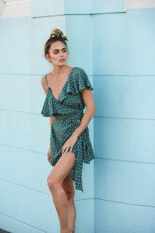 Платье с запахом асимметричное в горошек