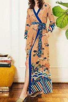 Платье с запахом бежевое с принтом