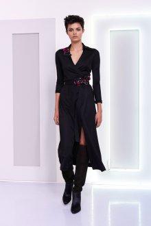 Платье с запахом черное миди