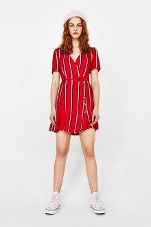 Платье с запахом красное в полоску
