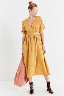 Платье с запахом льняное