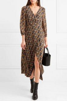 Платье с запахом в мелкий принт