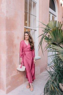 Платье с запахом розовое