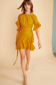 Платье с запахом и рюшами