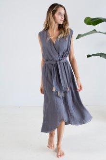 Платье с запахом серое без рукавов