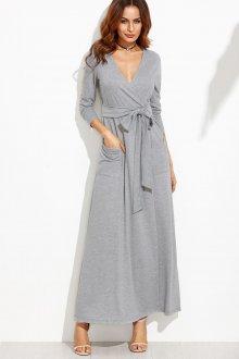 Платье с запахом серое