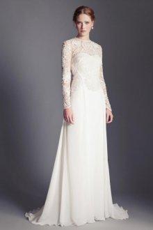 Платье невесты с прозрачными рукавами