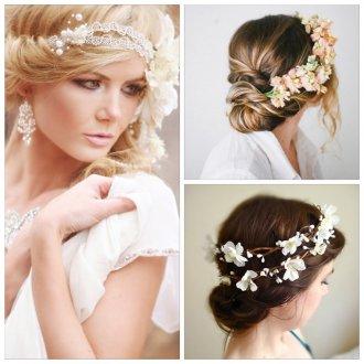 Прическа с венком с цветами на свадьбу