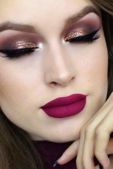 Идеальный макияж с бордовой помадой