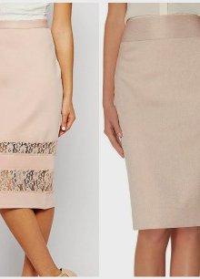 Прямая юбка светлого оттенка