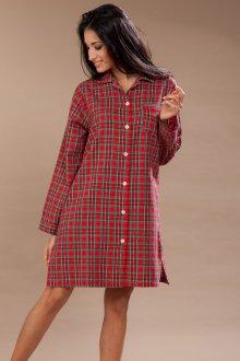 Модное красное домашнее платье в клетку