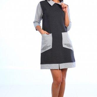 Модное домашнее двухцветное платье
