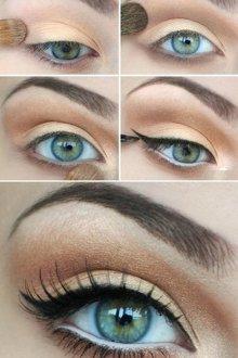 Фото урок дневного макияжа для серых глаз