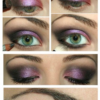 Фото урок вечернего макияжа для серо-зеленых глаз