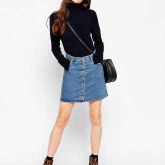 Синяя джинсовая юбка