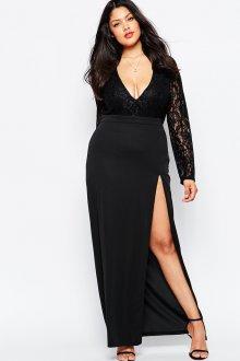Черное платье с вырезом для полной девушки