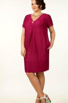 Свободное красное офисное платье
