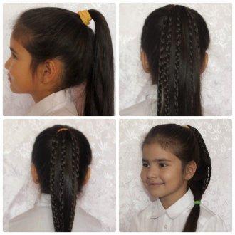 Стильная прическа с хвостом и косичками для девочки