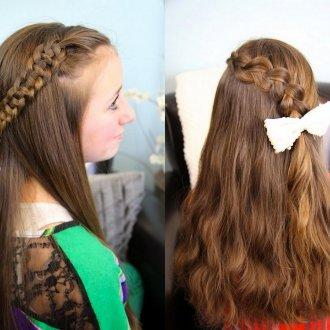 Красивая прическа с распущенными волосами и косой для девочки