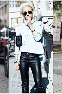 Модные образы с кожаными брюками