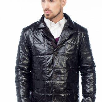 Стеганая черная мужская кожаная куртка с рубашкой