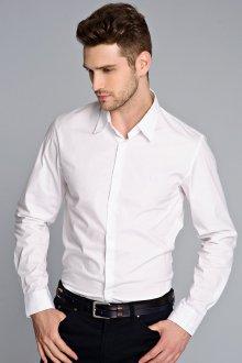 Модная мужская белая рубашка с длинным рукавом