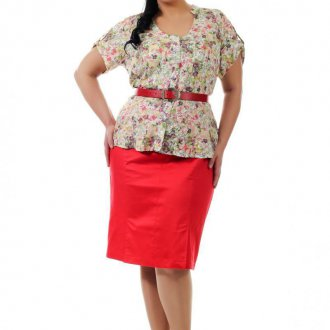 Красная юбка для полных женщин