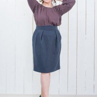 Синяя юбка-тюльпан для полных женщин