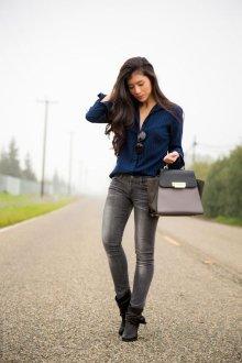 Луки и образы с серыми джинсами
