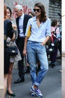 Светлые джинсы-бойфренды
