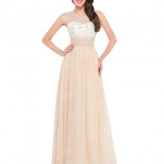 Длинное кремовое платье с завышенной талией на выпускной