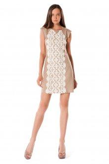 Кремовое платье с белым кружевом