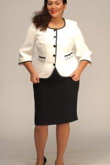Черно-белый костюм с платьем для полных женщин