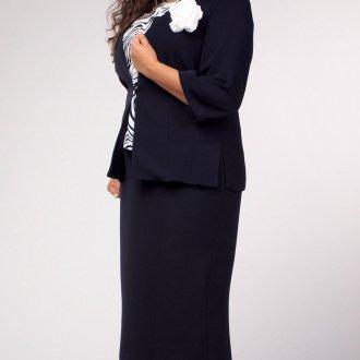 Классический деловой костюм с юбкой для полных женщин