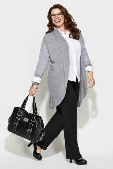 Черно-белый костюм с удлиненным серым пиджаком для полных женщин