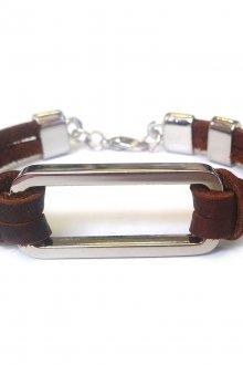 Мужской браслет из коричневой кожи и стали