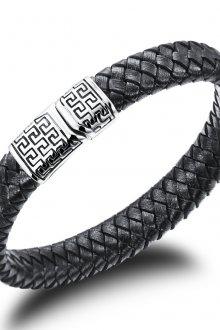 Мужской браслет из черной кожи и стали